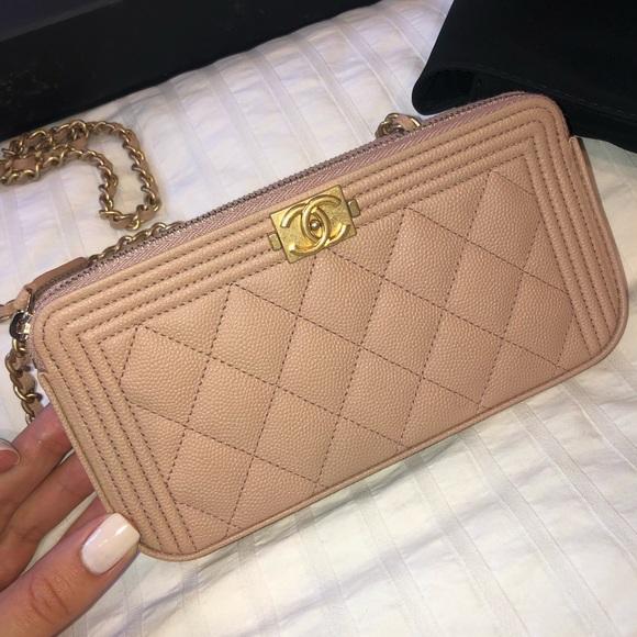 CHANEL Handbags - Chanel Boy Clutch  w/ chain in Beige Caviar